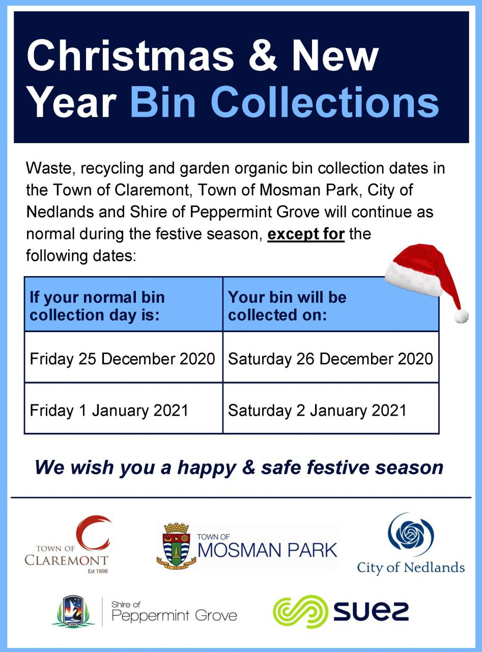 Christmas and New Year Bin Collections 2020